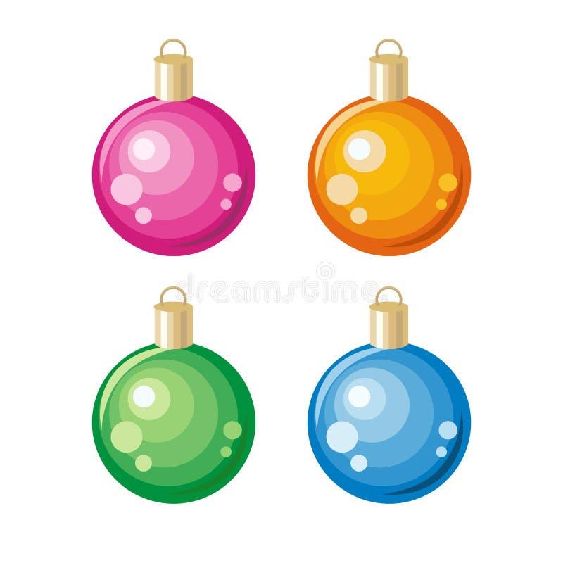 O grupo de ano novo brinca a decoração do ornamento do Natal ilustração do vetor