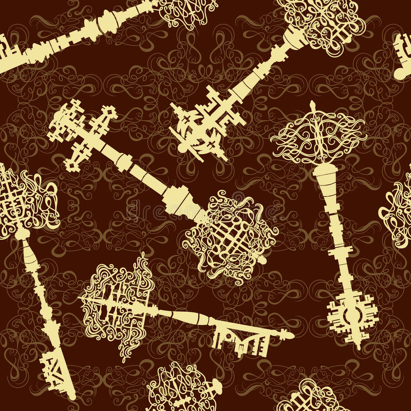 O grupo de antiguidade fecha o teste padrão sem emenda Coleção da ilustração do vetor do vintage ilustração stock