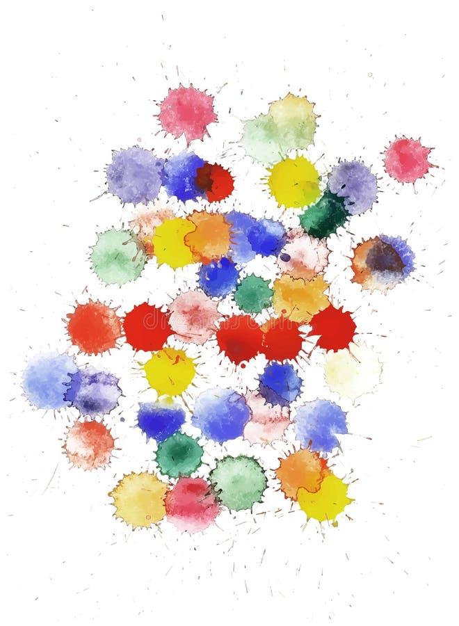 O grupo de aquarela colorido do vetor espirra ilustração stock