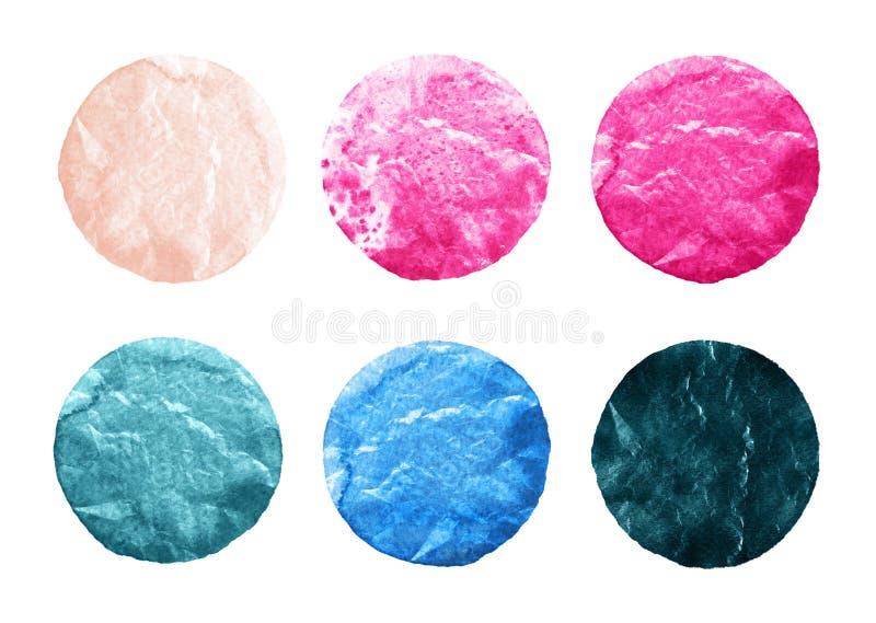 O grupo de aquarela cor-de-rosa e azul circunda no branco ilustração do vetor