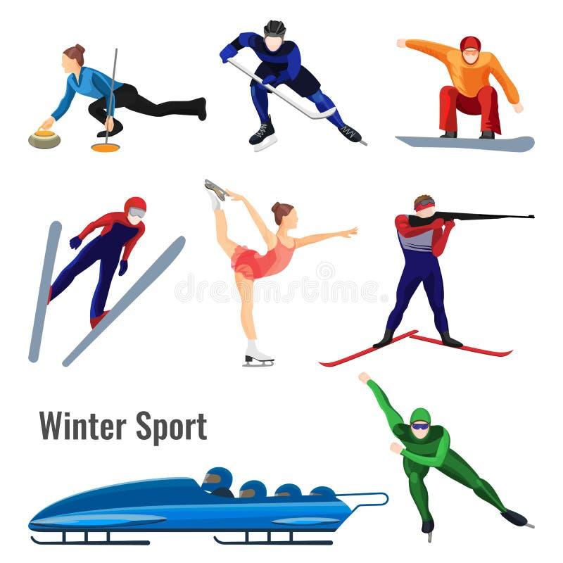 O grupo de atividades do esporte de inverno vector a ilustração isolada no branco ilustração royalty free