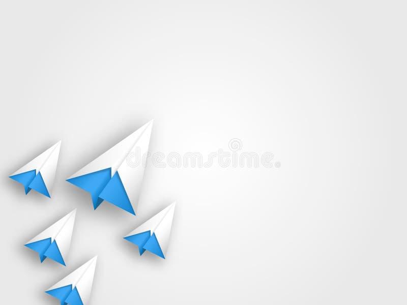 O grupo de aviões do origâmi no fundo cinzento representa o conceito da viagem Estilo de papel da arte do conceito criativo dos t foto de stock royalty free