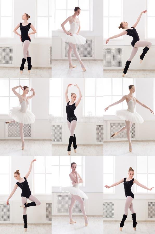 O grupo de bailarina nova que está no bailado levanta foto de stock royalty free