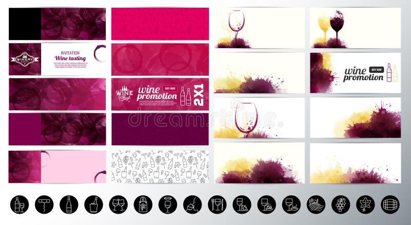 O grupo de bandeiras com vinho textured mancha o fundo Ícones do vinho ilustração stock