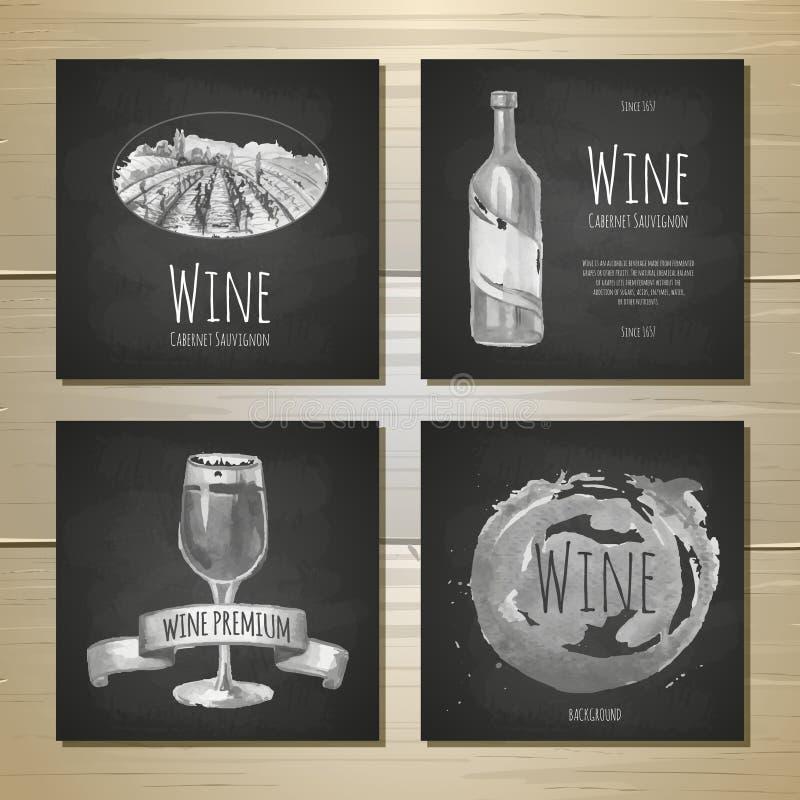 O grupo de bandeiras do vinho da arte e as etiquetas projetam ilustração do vetor
