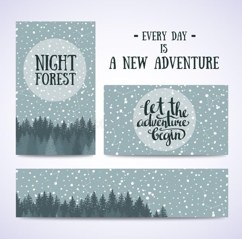 O grupo de bandeiras e os cartões com céu noturno com estrelas e vetor da floresta entregam a ilustração tirada ilustração royalty free