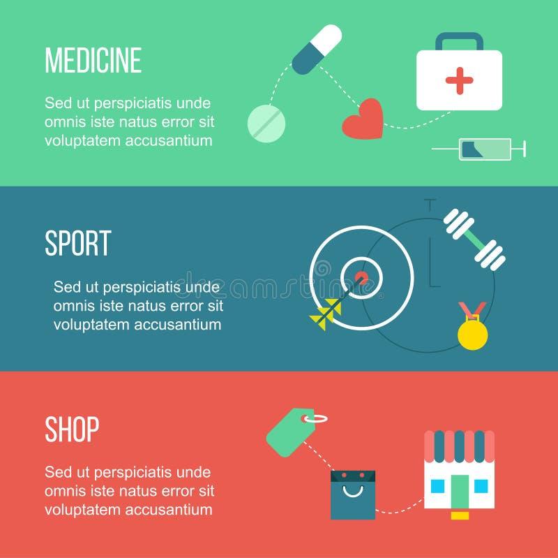O grupo de bandeiras, incluindo a medicina, esporte e compra, com droga, compra, e gym foto de stock