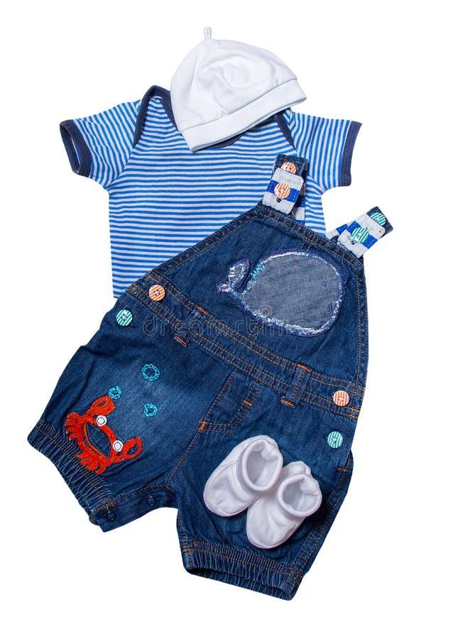 O grupo de bebê recém-nascido veste o estilo marinho imagens de stock
