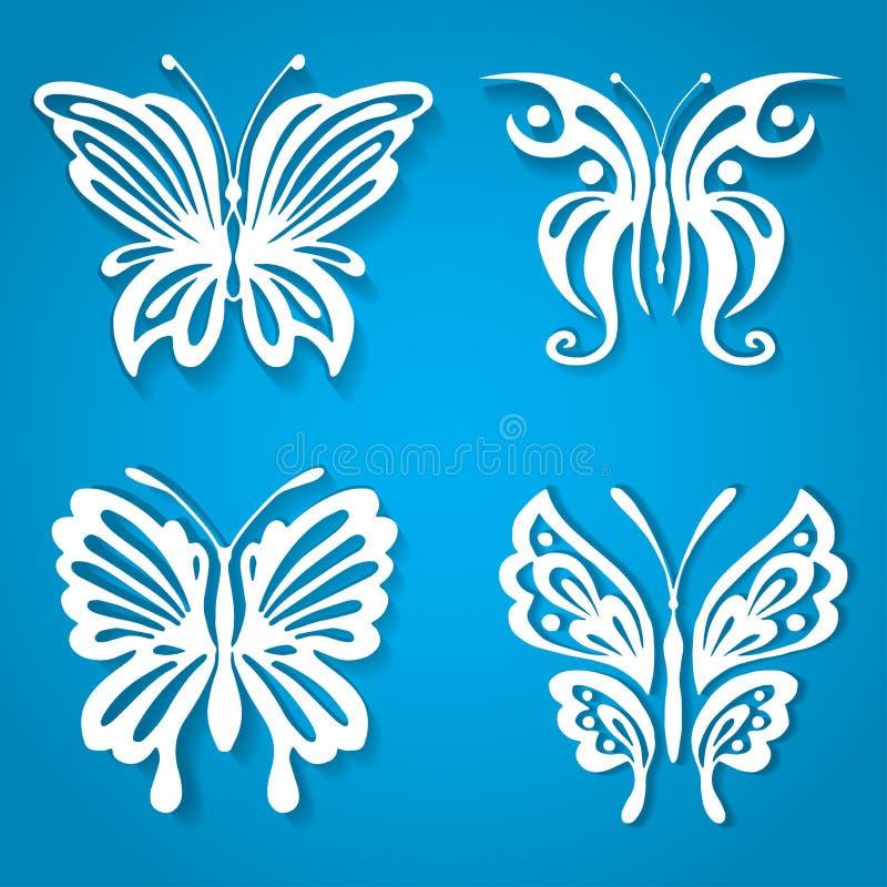 O grupo de borboleta decorativa, decorado com papel orgânico da forma cortou o estilo ilustração do vetor