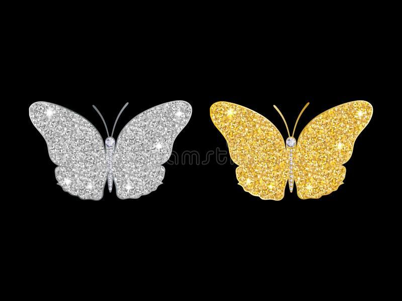 O grupo de borboletas de brilho do ouro e a prata brilham ilustração do vetor