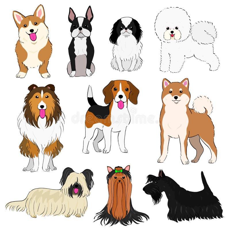 O grupo de cães pequenos entrega a linha arte tirada ilustração stock