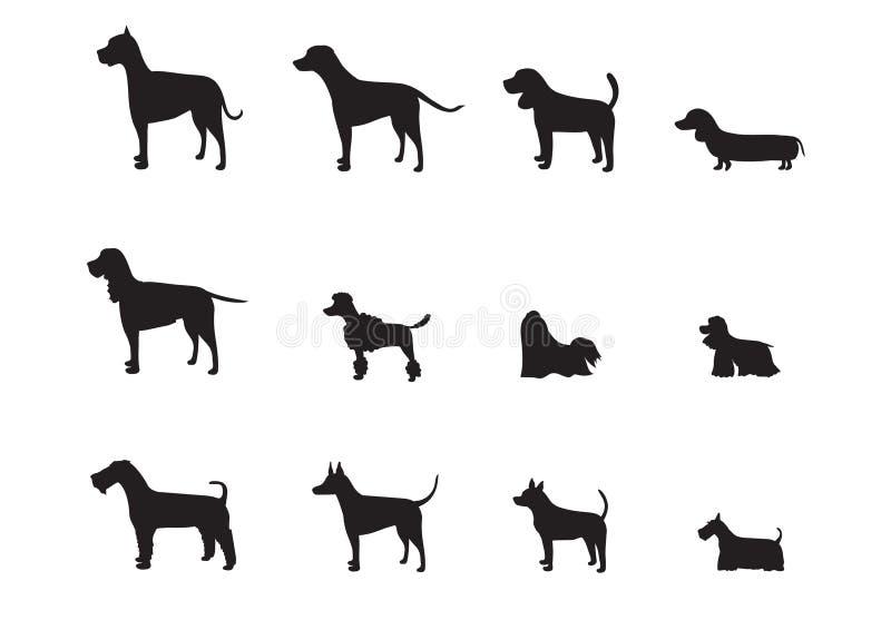O grupo de cão produz silhuetas, ilustrações do vetor ilustração do vetor