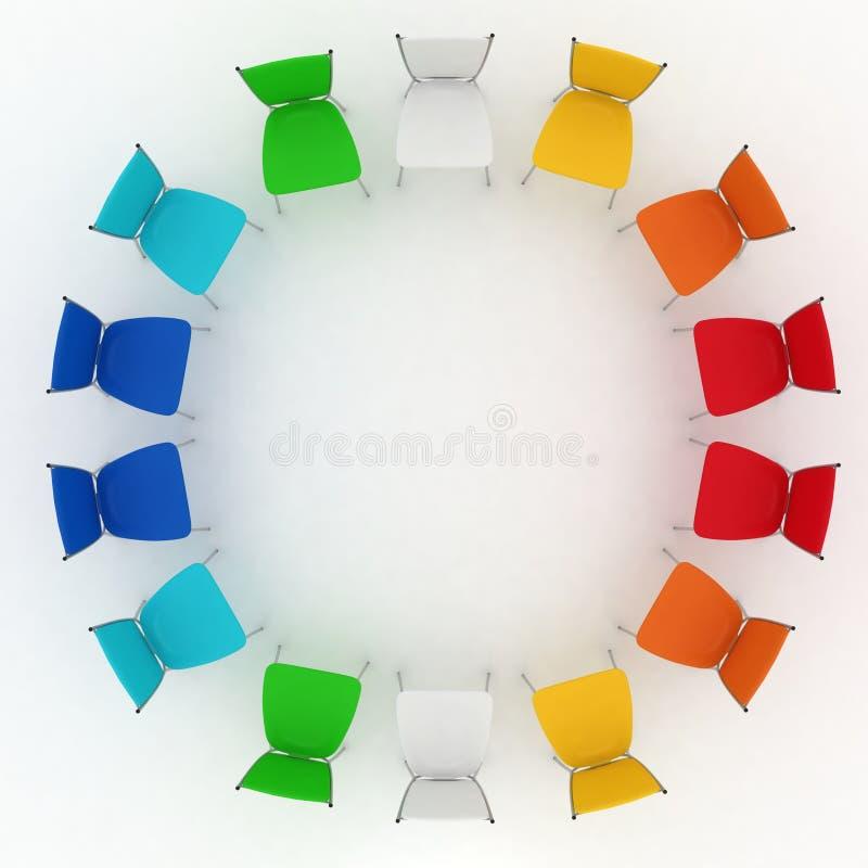 Grupo de custos das cadeiras redondos no branco ilustração do vetor