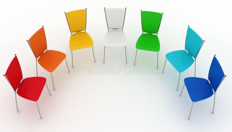 O grupo de cadeiras custa um metade-redondo ilustração royalty free