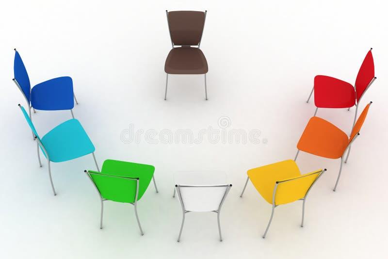 O grupo de cadeiras custa um metade-redondo ilustração stock