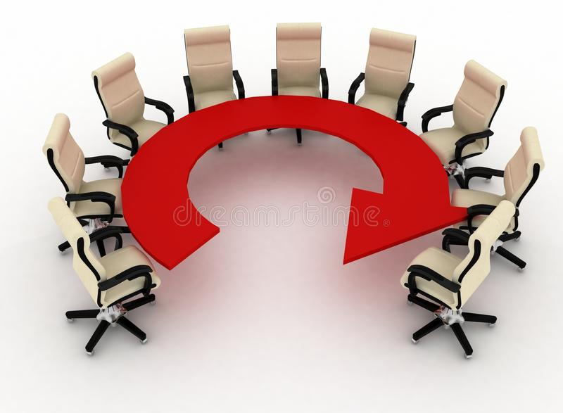 O grupo de cadeiras do escritório está em uma tabela como uma seta ilustração royalty free