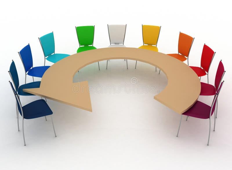 O grupo de cadeiras está na tabela como uma seta ilustração royalty free