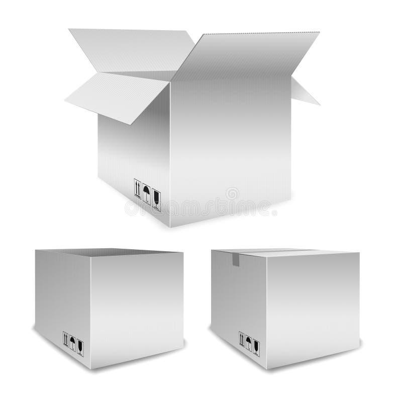O grupo de caixas de embalagem do vetor abre e fechado ilustração do vetor