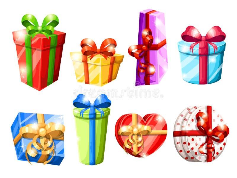 O grupo de caixas de presente coloridas diferentes com curvas vector a ilustração isolada na página branca do Web site do fundo e foto de stock