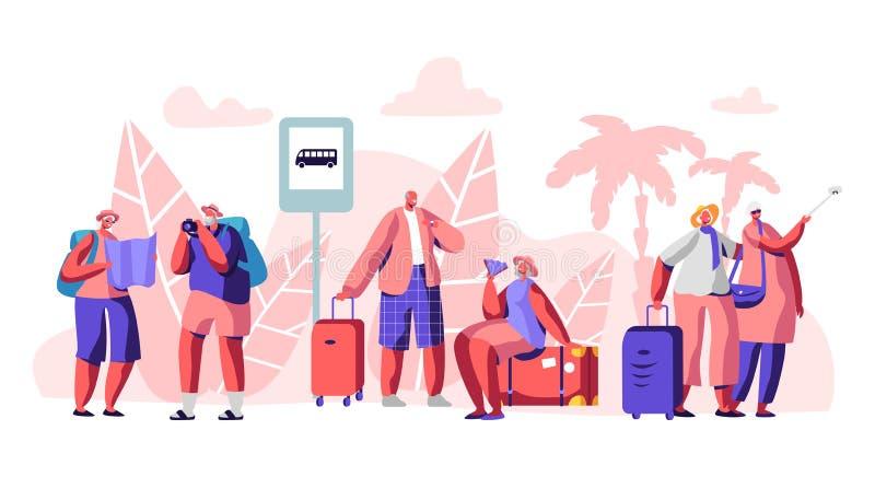 O grupo de caráteres maduros do turista está na estação de ônibus no país tropical com palmeiras Povos de viagem com mapa, foto ilustração royalty free