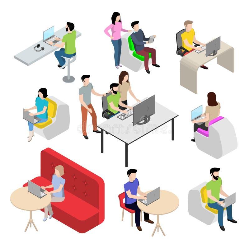 O grupo de caráteres no estilo isométrico, povos trabalha no computador ilustração do vetor