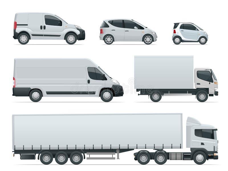 O grupo de carga transporta a vista lateral Veículos de entrega Caminhão e Van da carga Ilustração do vetor ilustração do vetor