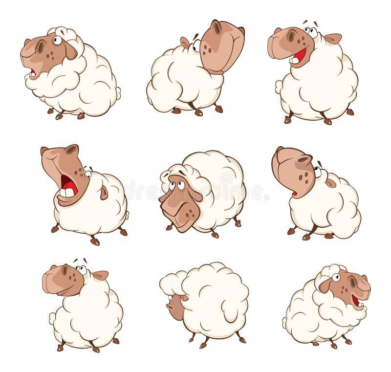 O grupo de carneiros da ilustração dos desenhos animados para você projeta ilustração do vetor