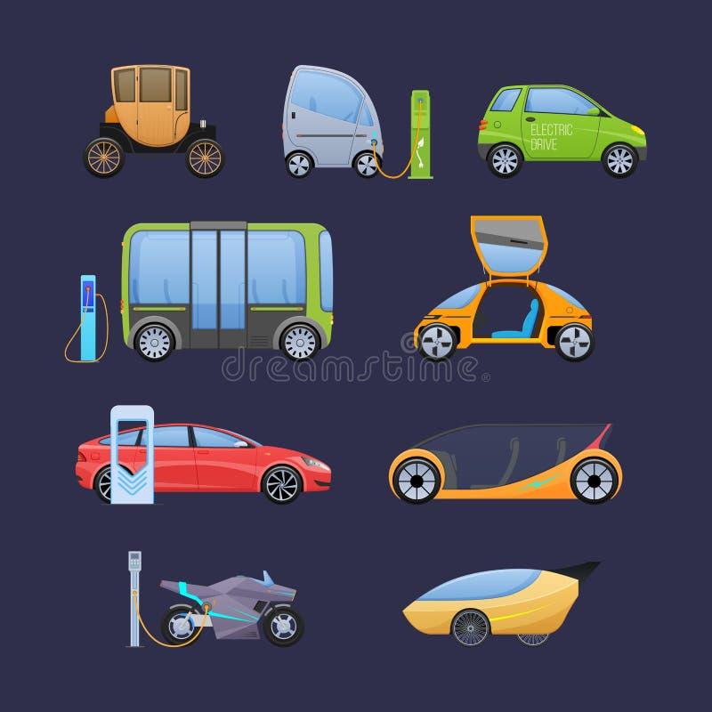 O grupo de caro moderno escolhe e de veículos elétricos de multi-Seat ilustração royalty free