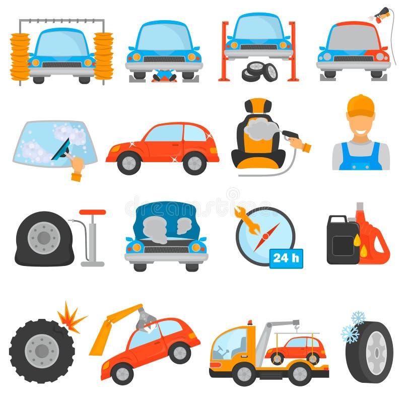 O grupo de carro diferente presta serviços de manutenção a ícones lisos da cor ilustração do vetor
