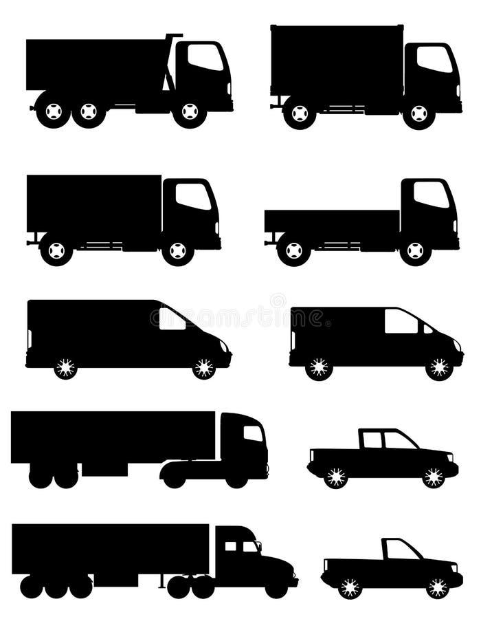 O grupo de carros dos ícones e o caminhão para a carga do transporte enegrecem o silho ilustração do vetor