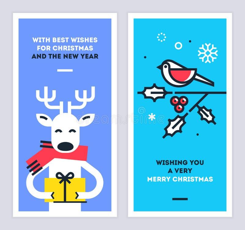 O grupo de cartões do Natal e do ano novo com o caráter bonito da rena que dá um presente e um pássaro que sentam-se em um omela  ilustração royalty free