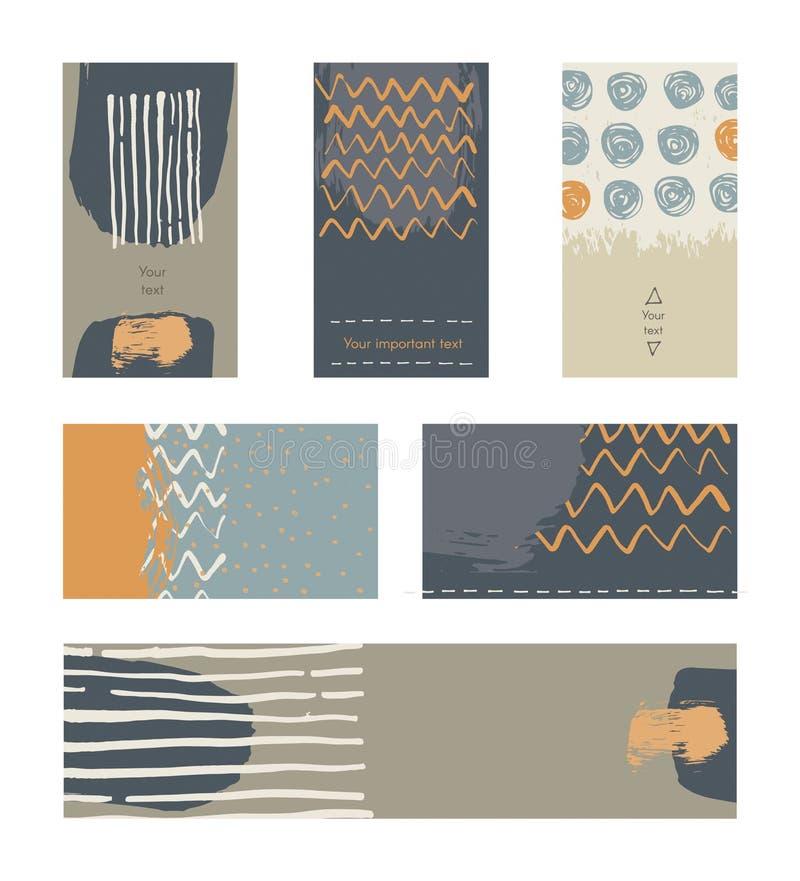 O grupo de cartões horizontais e verticais tirados mão decorados com a escova líquida da tinta espirra, listras, cursos e pontos  ilustração stock