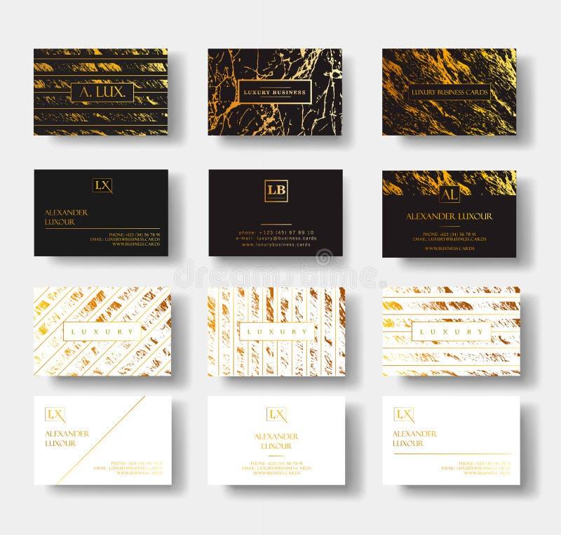O grupo de cartões luxuoso preto e branco elegante com textura de mármore e o ouro detalham o molde do vetor, bandeira ou ilustração do vetor