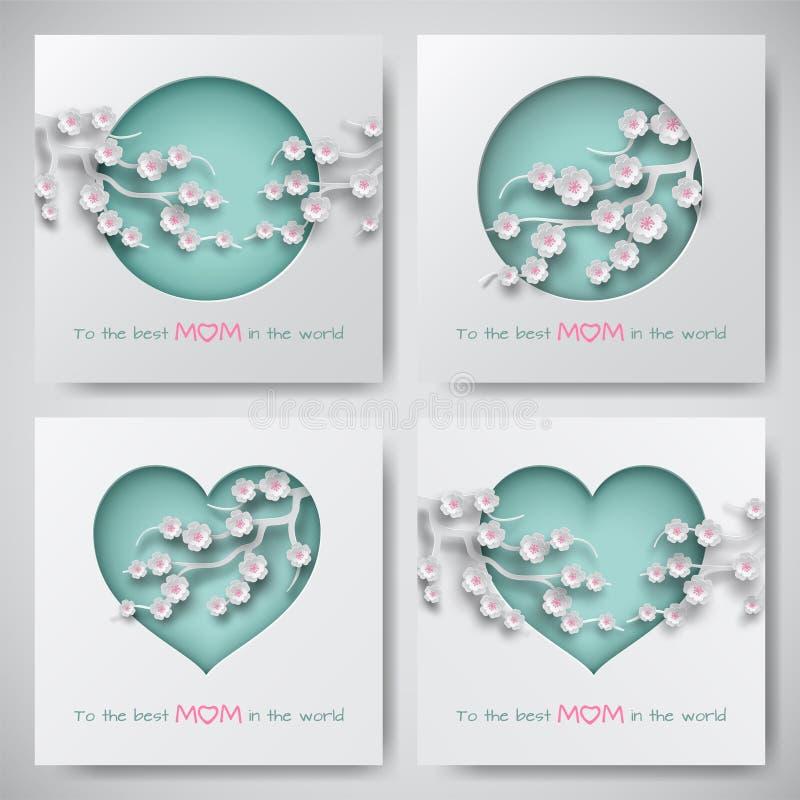 O grupo de cartões para o dia do ` s da mãe com mulheres e as silhuetas do bebê com felicitações text, flores decoradas formas cu ilustração stock