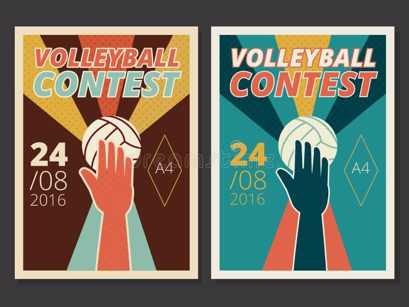 O grupo de cartaz do vetor do jogo de voleibol e o inseto projetam no tamanho A4 ilustração do vetor