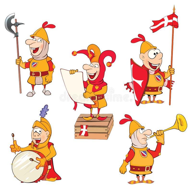 O grupo de cavaleiros bonitos da ilustração dos desenhos animados para você projeta ilustração do vetor