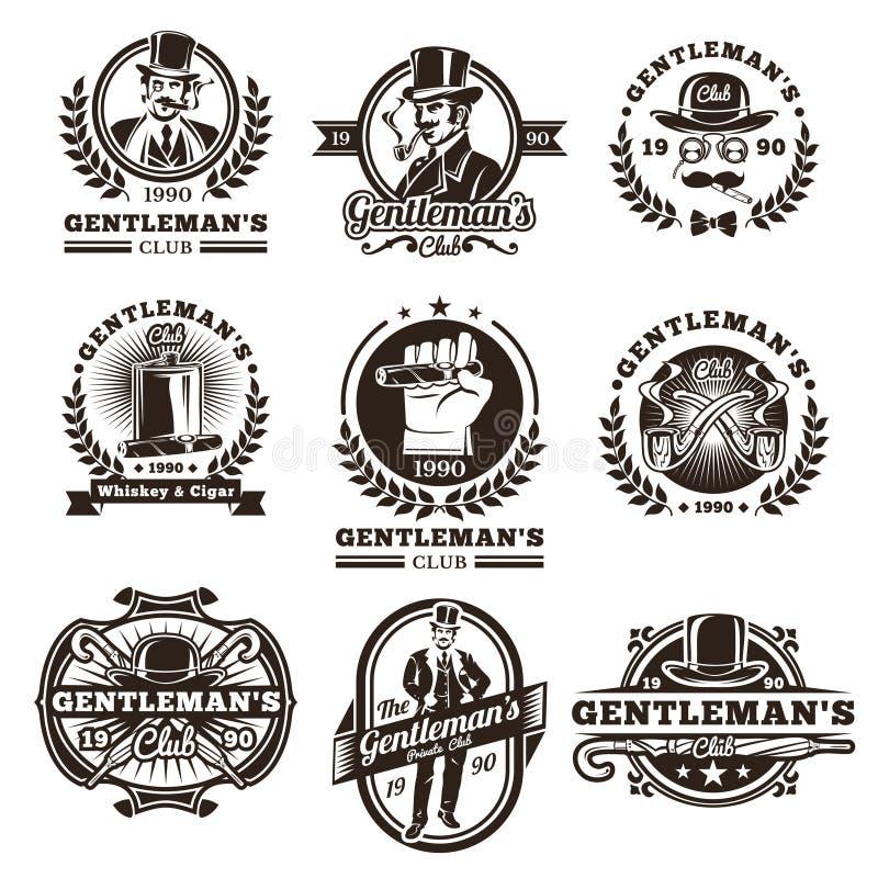 O grupo de cavalheiro do vintage simboliza, etiquetas ilustração royalty free