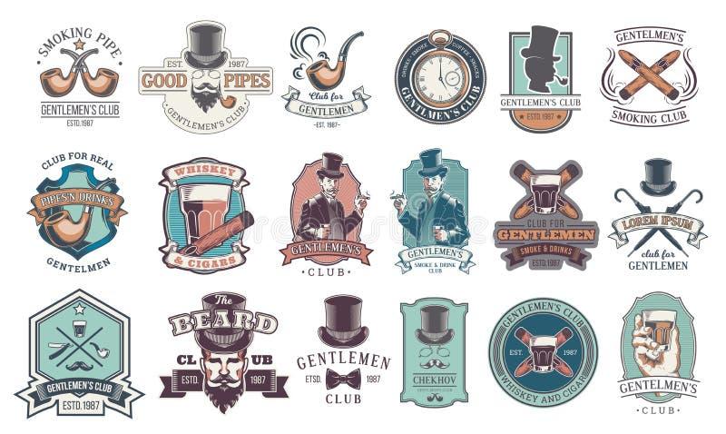 O grupo de cavalheiro do vintage simboliza, etiquetas ilustração do vetor
