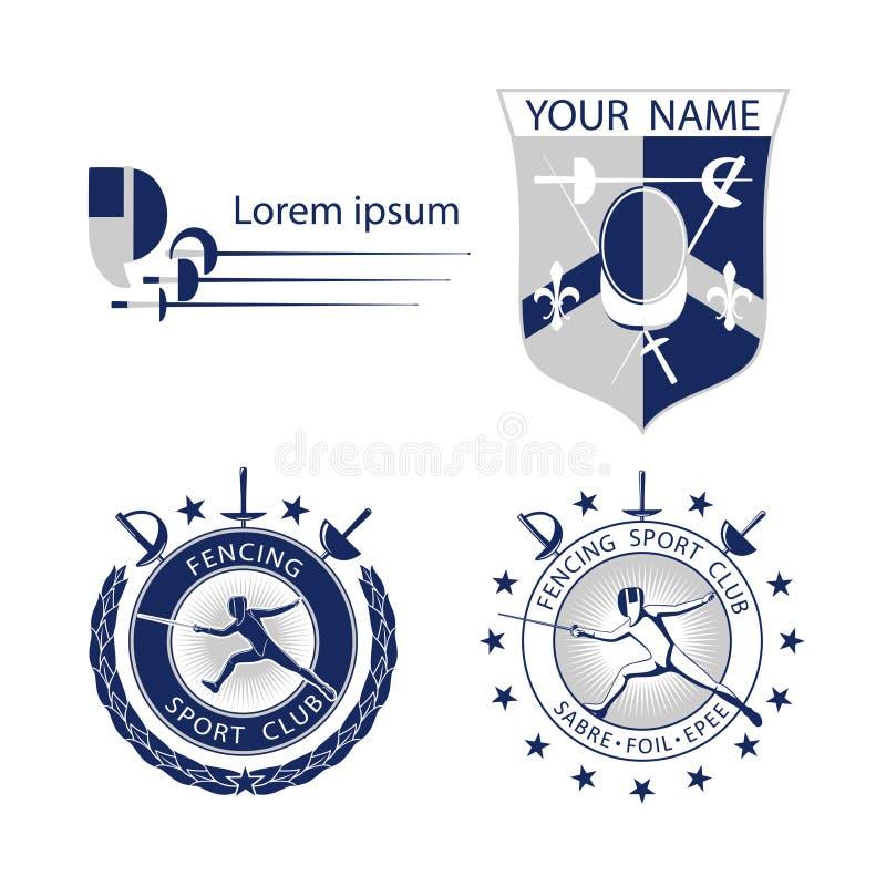 O grupo de cerco ostenta logotipos, ícones, etiquetas, emblemas, crachás no fundo branco ilustração stock