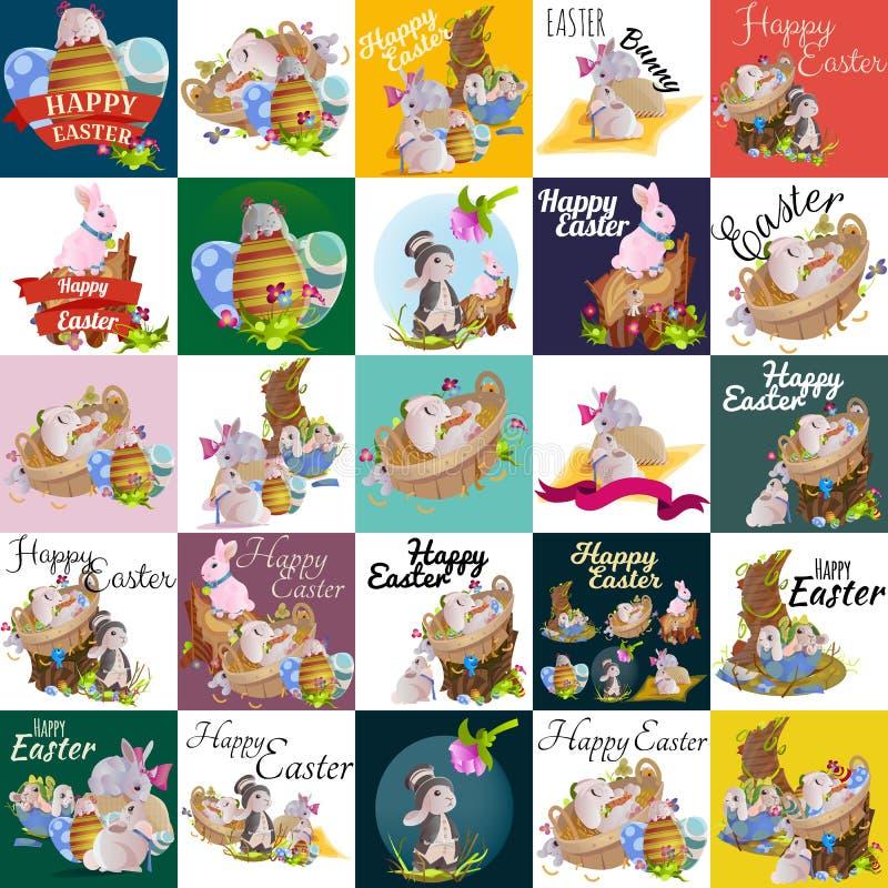 O grupo de cesta do coelho da caça do ovo da páscoa na grama verde decorou flores, orelhas engraçadas do coelho bonito, estação d ilustração stock