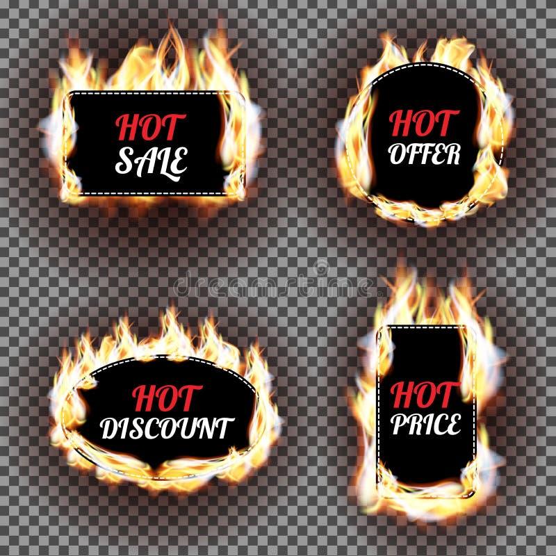 O grupo de chama do fogo etiqueta o projeto do vetor Podem ser usados para o preço e a venda, negociar e oferecer, a etiqueta ou  ilustração royalty free