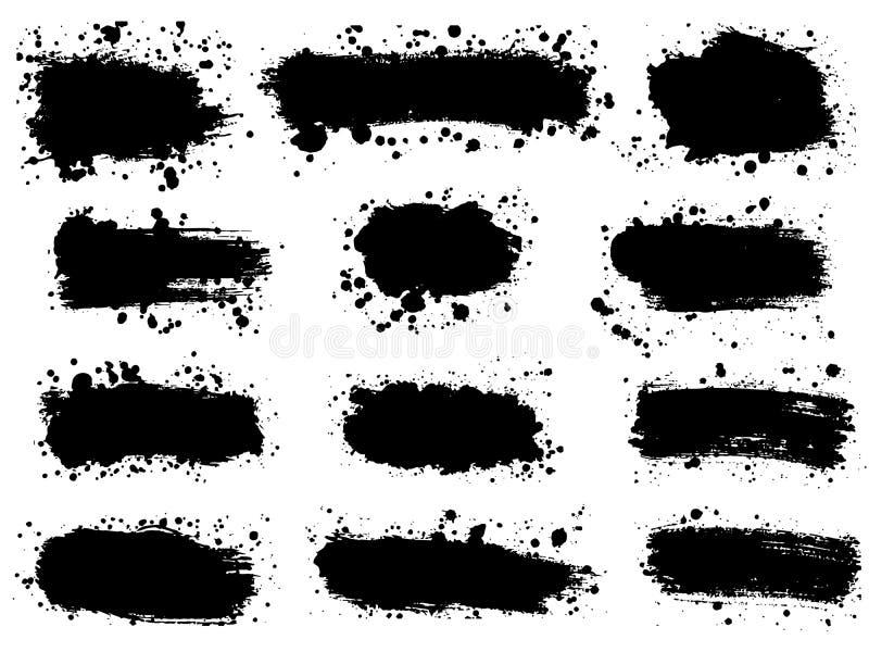 O grupo de chapinha a textura tirada mão da pintura Mancha preta do pulverizador de I ilustração do vetor