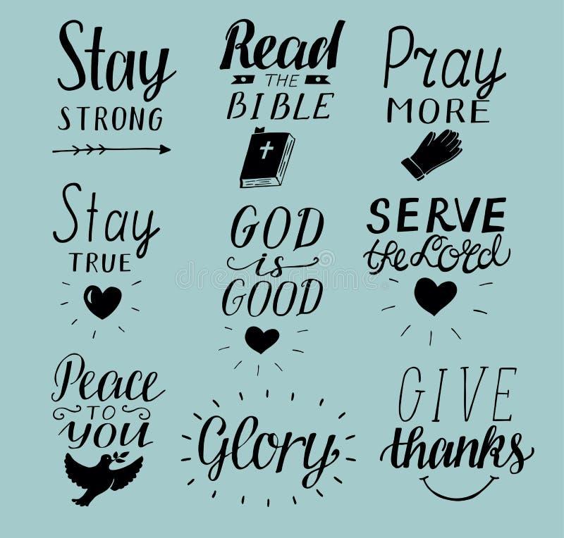O grupo de 9 citações cristãs da rotulação da mão fica forte Paz a você Rezar mais Leia a Bíblia O deus é bom Senhor do saque Giv ilustração royalty free