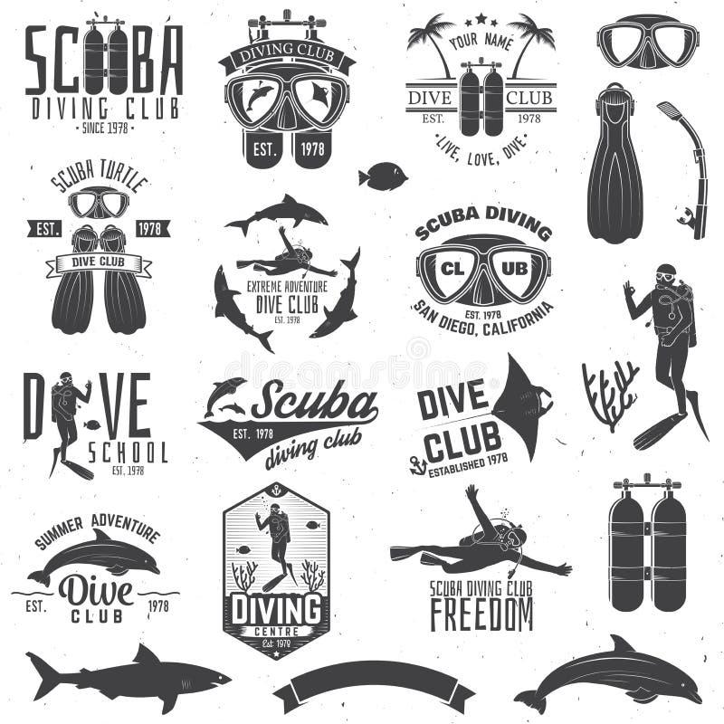 O grupo de clube do mergulho autônomo e a escola do mergulho projetam ilustração do vetor