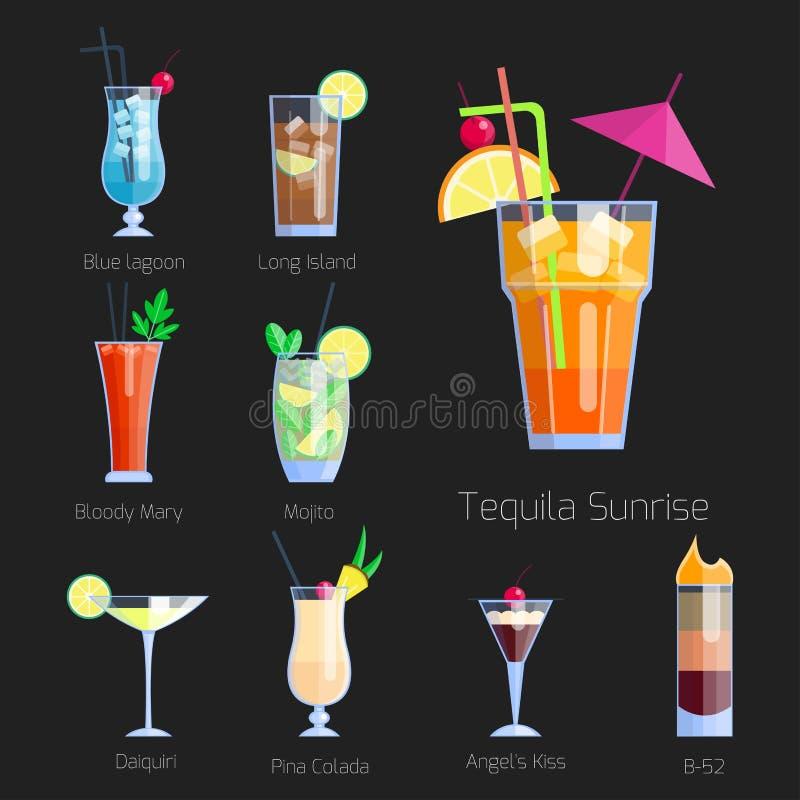 O grupo de cocktail alcoólicos isolou a coleção do frescor das bebidas frias do fruto e o doce cosmopolitas tropicais do álcool d ilustração royalty free
