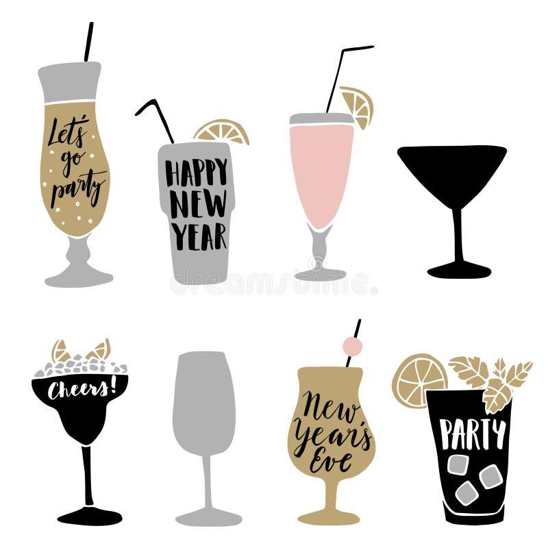 O grupo de cocktail alcoólicos tirados mão com rotulação cita ilustração do vetor