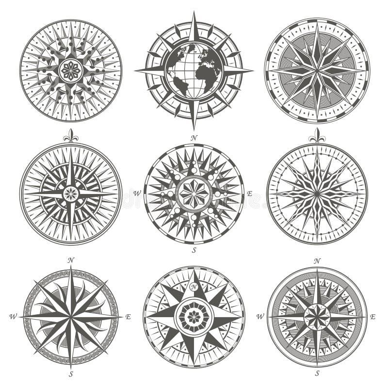 O grupo de compasso náutico da rosa do vento da antiguidade do vintage assina as etiquetas e ilustração stock