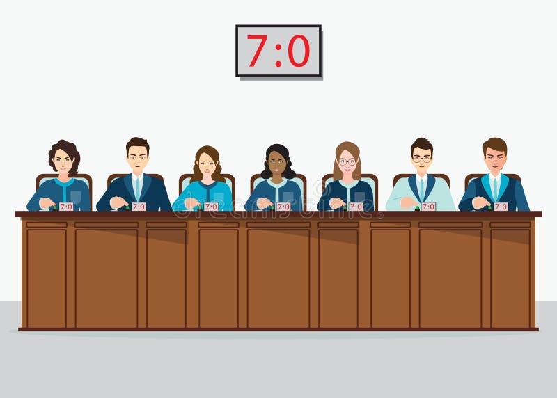 O grupo de competição profissional julga a tecla com estima ilustração do vetor