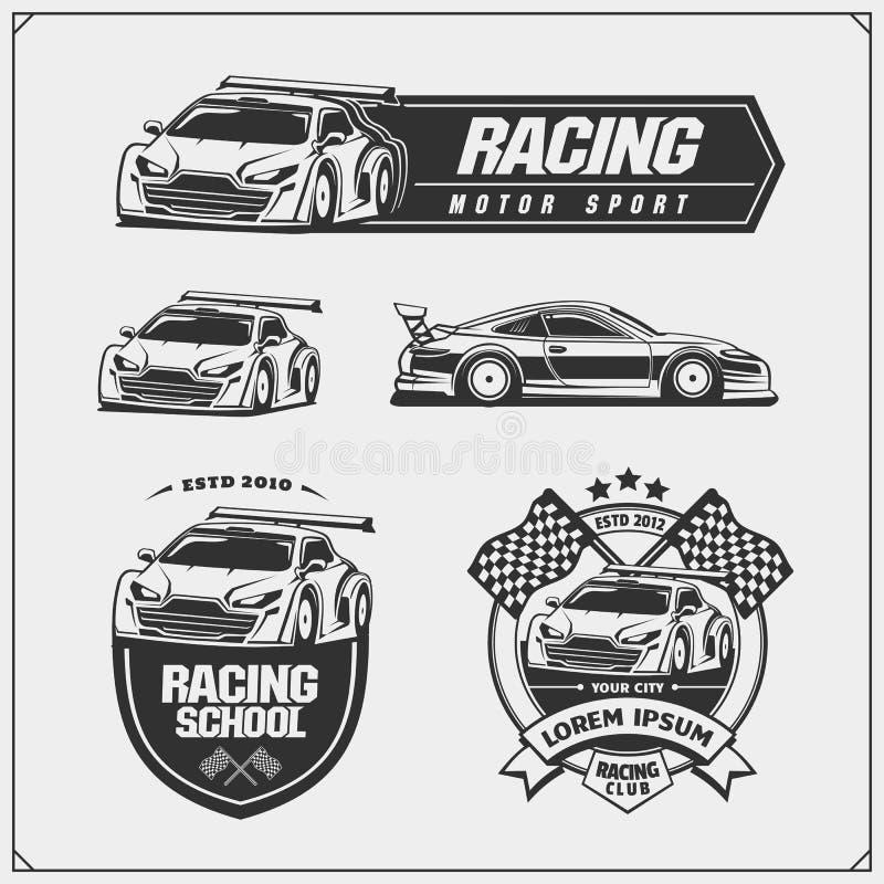 O grupo de competir o clube simboliza, etiquetas e elementos do projeto Ilustrações de pressa dos carros de competência ilustração stock