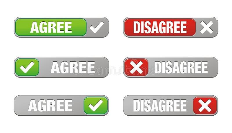 O grupo de concorda e discorda botões ilustração royalty free